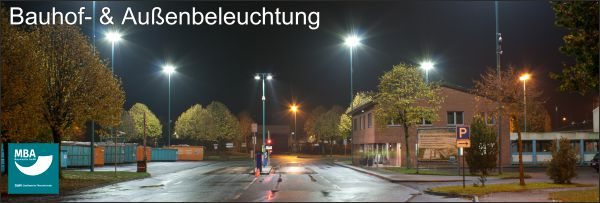 Referenzbild MBA: LED Bauhof- und Außenbeleuchtung mit Tjark Plus 135 W der Marke Leuchtfeuer des Herstellers Lehner Dabitros