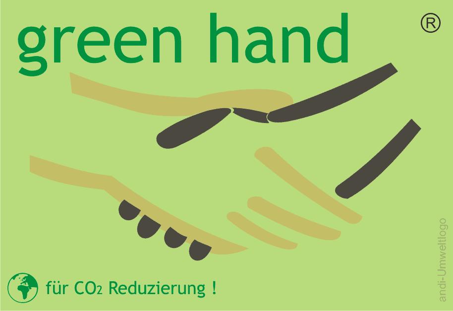 green hand Label für CO2 Reduzierung